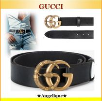 GUCCi♦Leather belt with Double G buckle with snake
