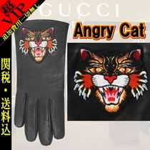 "◆◆VIP◆◆ GUCCI  ""Angry Cat""  Embroidery  Gloves - UNISEX"