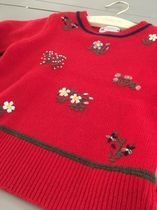 AW18 BONPOINT☆FILLE☆セーター刺繍レッド4A