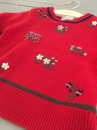 AW18 BONPOINT☆FILLE☆セーター刺繍レッド6A