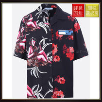 【プラダ】Hawaii Print Bowling Shirt Black With Multi Print