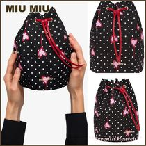 送料関税込☆MIU MIU Faille heart polka-dot print make-up bag