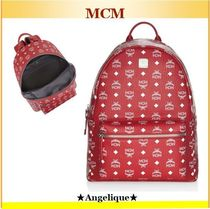 MCM♦買うなら赤!Logo Coated Canvas Backpack