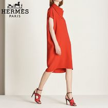 【18RESORT】HERMES*エルメス*Scarf collar dress*ドレス