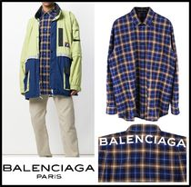 ★関税込/追跡/正規品★BALENCIAGA BAL PLAID SHIRTS BLUE★