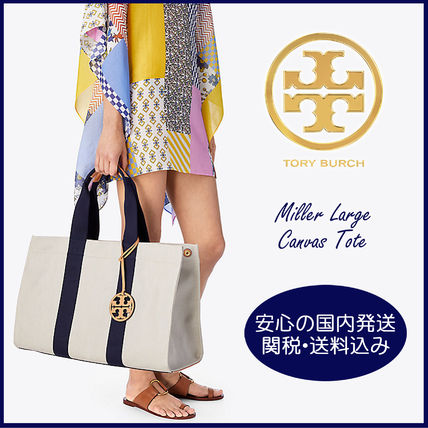 Tory Burch マザーズバッグ 【国内発送】MILLER LARGE CANVAS TOTE セール