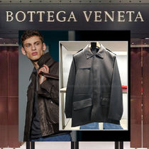 【18AW NEW】BOTTEGA VENETA_men / Single Dark Lether Coat
