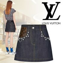 Louis Vuitton 2018-19AW JUPE CLOUTEE EN DENIM BRUT スカート