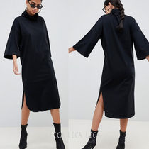国内発送ASOS high neck midi swing dress with trumpet sleeves