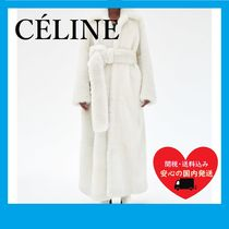 CELINE OVERSIZE LONG COAT IN FLUFFY FUR SHEARLING OFF WHITE