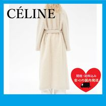 CELINE OFF WHITE LONG COAT WOOL AND MOHAIR FUR OVERSIZE