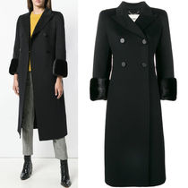 FE2166 MINK FUR TRIMMED DOUBLE BREASTED WOOL COAT