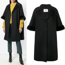 FE2167 OVERSIZED WOOL COAT WITH MINK FUR TRIM