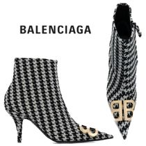 【18AW】★BALENCIAGA★BB Knife houndstooth ankle boots