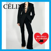 CELINE FITTED TUXEDO TROUSERS TAILORED JACKET BLACK cotton