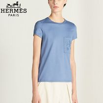 【18RESORT】HERMES*エルメス*Embroidered*Tシャツ*ブルー