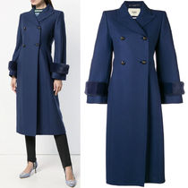 FE2169 MINK FUR TRIMMED DOUBLE BREASTED WOOL COAT