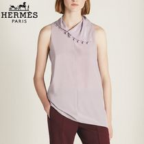 【18RESORT】HERMES*エルメス*Buttons collar top*カットソー
