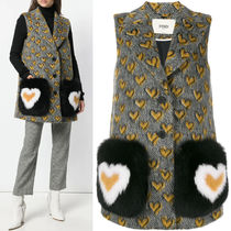 FE2176 MOHAIR BLEND WOOL WAISTCOAT WITH FOX FUR POCKET