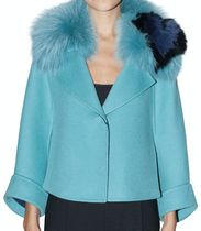 FE2177 CAPE SHORT COAT WITH FOX FUR COLLAR