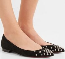 ★CHRISTIAN LOUBOUTIN★DRAMA SPIKED SUEDE POINT-TOE FLATS