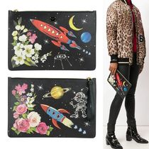 【Dolce & Gabbana】Space Print Pouch ロケット柄 クラッチ 黒