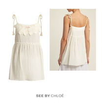 【See by Chloe】Floral-embroidered cotton top