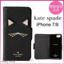 kate spade◆iPhone 7/8ケース◆手帳型◆キャットアップリケ