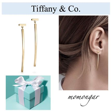 [Tiffany & Co.] Tiffany T Wire Bar Earrings☆18k Gold