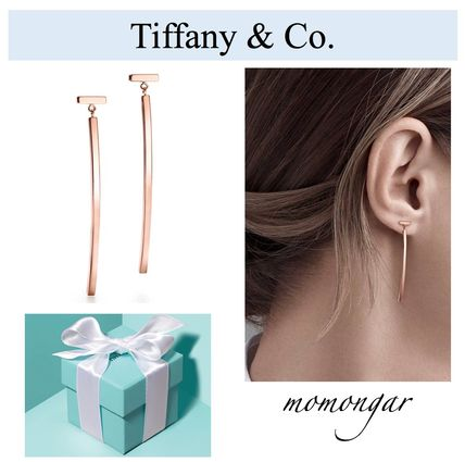[Tiffany & Co.] Tiffany T Wire Bar Earrings☆18k Rose Gold