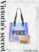 PINK!! IRIDESCENT TOTE + POUCH