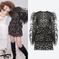18-19AW V1189 LOOK30 FEATHER EMBELLISHED JACQUARD SILK DRESS