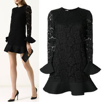 18-19AW V1192 HEAVY LACE & CREPE COUTURE DRESS