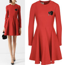 18-19AW V1193 WOOL BLEND TWILL FLARE DRESS WITH PATCH