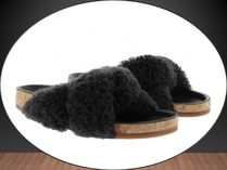 Chloe*Kerenn Flat Shearling Mule Black for Women