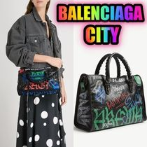 BALENCIAGA Graffiti Classic City leather shoulder bag