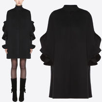18-19AW V1195 CASHMERE BLEND WOOL COAT WITH RUFFLED SLEEVE