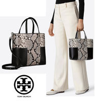 Tory Burch 大人パイソン柄 2Way Bag! BLOCK-T STUD MINI TOTE