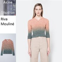 ACNE Riva Mouline turquoise リブブリーチ仕上フィットセーター