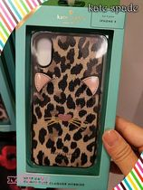 Kate spade★iPhone X case☆leopard appliqueヒョウ柄キャット