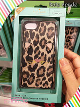 Kate spade★iPhone 8 case☆leopard appliqueヒョウ柄キャット