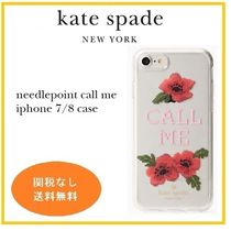 kate spade バラ 刺繍 ハードシェル iPhone7/8 needlepoint