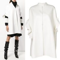 18-19AW V1201 CASHMERE BLEND WOOL COAT WITH RUFFLED SLEEVE