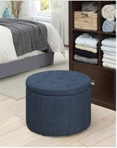 オットマン Porch&Den Shoe Storage Ottoman-Blue Fabric 送料無料 関税込