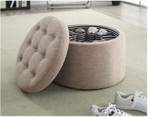 オットマン Porch&Den Shoe Storage Ottoman-Tan Fabric 送料無料 関税込