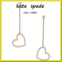 【kate spade】 yours truly pave heart linear earrings