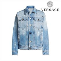 VERSACE★Embellished Denim Jacket with Printed Silk