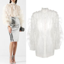 18-19AW V1210 FEATHER EMBELLISHED SILK BLOUSE