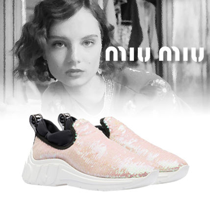 18AW 新作 MIUMIU SLIP-ON SNEAKERS WITH SEQUINS スパンコール