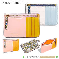 新作!★Tory Burch★COLOR-BLOCK TOP-ZIP CARD CASE